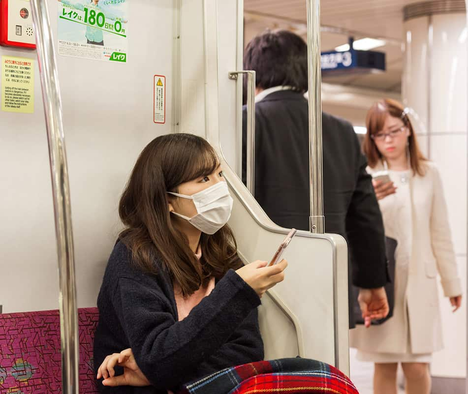 Giappone Mascherine nei mezzi pubblici