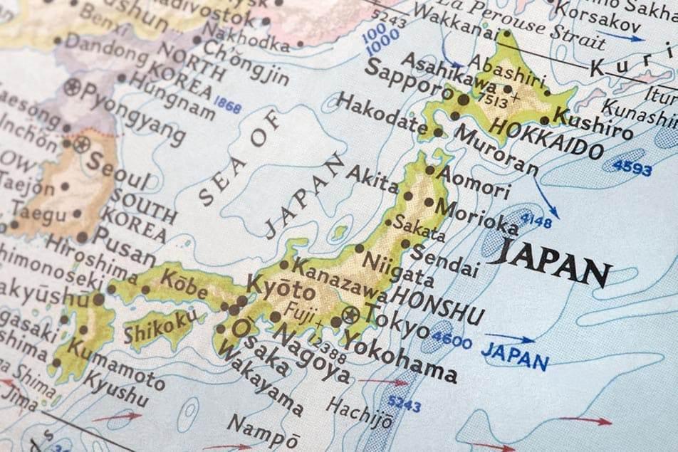 cartina giappone con regioni