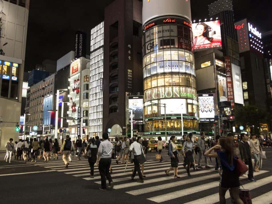 Quartiere di Ginza in Notturna