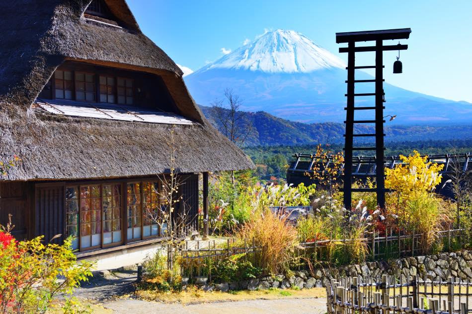 Villaggio vicino al monte Fuji