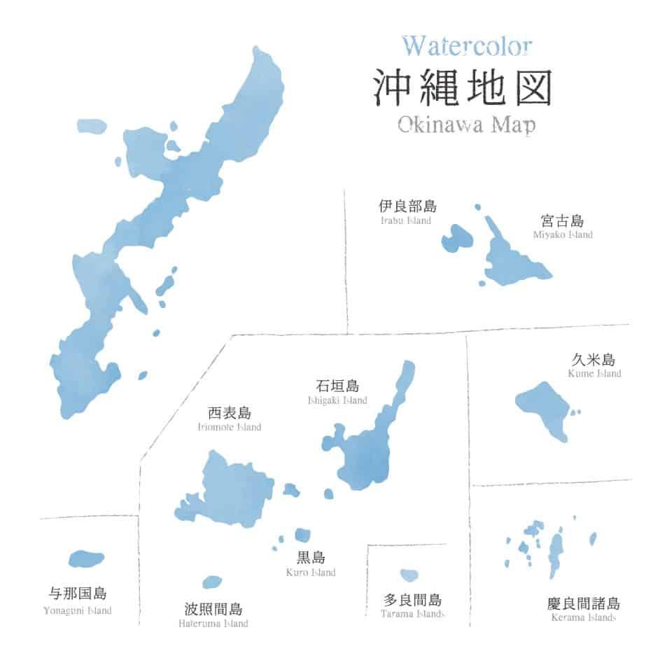 mappa delle isole giapponesi di Okinawa